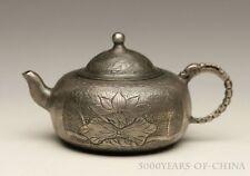 "2.97"" Exquisite ""Lotus & Goldfish"" Original Old 925 Silver Small Teapot"