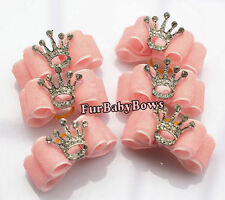 1 Pink Princess Crown Cute  girl Puppy Dog Yorkie Pet Bows Shih-tzu Small Dog
