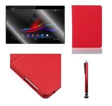 RED LEATHER STAND CASE FOR SONY XPERIA TABLET Z + SCREEN PRO **LIMITED STOCK**
