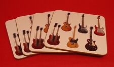 Electric Guitar Design Set Of 4 Coasters Rock Band Country Musician Xmas Gift