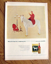 1957 Whisky Whiskey White Horse Ad  It's Time for a Nightcap