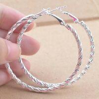 """Unique & Elegant Pure 925 Sterling Silver Big Round Hoop 1.5"""" Earrings"""