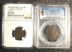 Colonial Anti-Slavery Tokens NGC 1795 Thomas Paine & PCGS (ND) Am I not a Man