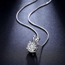 Diamant Rund Anhänger Halskette Geschenk 925 Silber Damen Collier Dame Kette