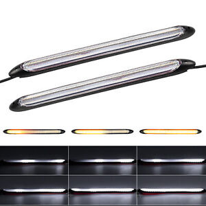 2X Sequential LED Strip Turn Signal Indicator Car DRL Daytime Running Light