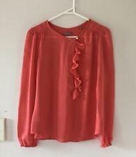 🧡 JIGSAW Women's Orange 100% SILK Ruffle Blouse Shirt Sz 6 XXS Xs Work Formal