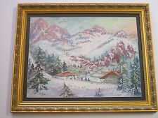 LARGE VINTAGE AMERICAN   PAINTING MOUNTAIN LANDSCAPE WINTER SKI LODGE RESORT OLD
