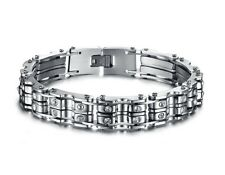 Mens Stainless Steel CZ Crystal Biker Link Chain Bangle Bracelet + Box #BR220