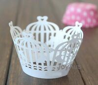 100 White birdcage cupcake wrappers wedding engagement party favour cake decor