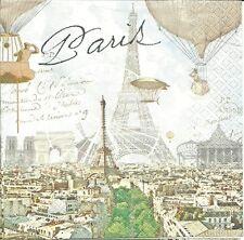 "3 Servietten Napkins Paris Eifelturm ""Stadt der Liebe"" Heissluftballon Alt #346"