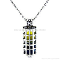 K193 Silver 35mm Tube Cylinder Locket Pendant Necklace Pearl Cage Steel Chain