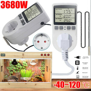 Digitale Thermostat Steckdose Innenthermostat Temperaturregler Schalter & Fühler