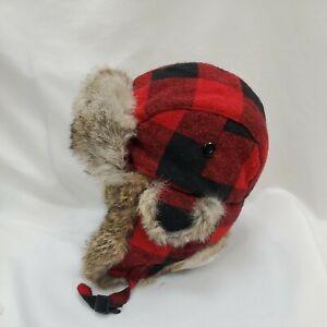 J McLaughlin Wool Real Rabbit Fur Trapper Hat Cap Red Black Buffalo Plaid Large