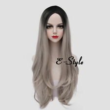 70CM Gray Blonde Mixed Black Long Wavy Hair Lolita Women Girl Party Cosplay Wig