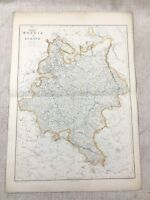 1857 Antique Map of Russia in Europe Old Hand Coloured 19th Century Original