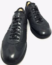 PRADA BLACK LEATHER CANVAS TRAINER SNEAKERS SHOE 8Uk 42EU 9US