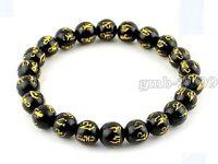 Tibetan 8mm Black Agate Gold Plating OM Mani Padme Hum Beaded Bracelet