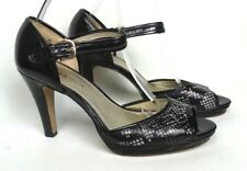 """ANNE AK KLEIN Etenia 9M Black White Patent Peep Toe Ankle Strap 4"""" Heels Women's"""