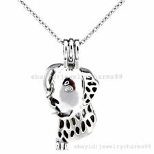 K400 Silver Animal Puppy Dog Pearl Cage Stainless Steel Necklace - Akoya Oyster