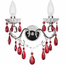 2 Lt Decorative Bathroom Wall Light Red Acrylic Droplets 3r Guarantee Litecraft
