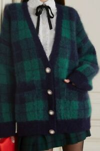 ALESSANDRA RICH Checked brushed mohair-blend cardigan, size IT 36