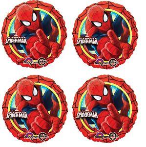 "4x 18"" Marvel Ultimate Spider-Man Happy Birthday Foil Mylar Balloon"