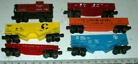 6 Vintage Lionel Freight Train O/O-27 Gauge Cars: Gondola, Hopper, Flat, Caboose