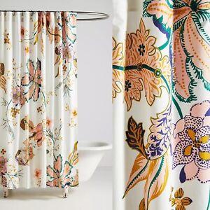 NWT Anthropologie Cotton Porte Bonheur Lucky Charm Floral Shower Curtain