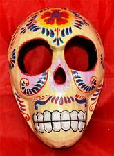 GOTHIC PUNK CREAM FLORAL VOODOO WOODEN TRIBAL MASK SKULL WALL HANGING PLAQUE