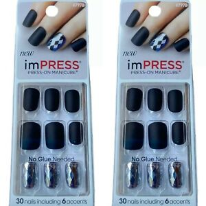 2x NEW Kiss Nails Impress Press Manicure Short Gel Matte Black Geometric Accent