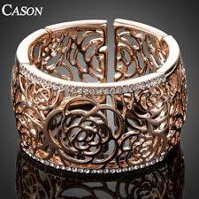 Women Statement Cuff Bangle Fashion Austrian Crystal Rose Gold Plated Bracelet