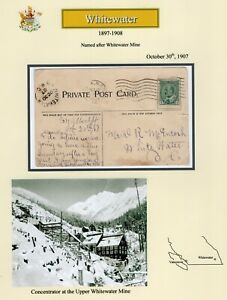 Canada BC British Columbia - Kootenays - Whitewater 1907 Split Ring Postcard