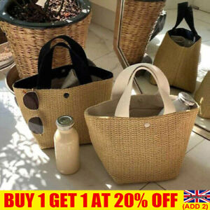 Lady Wicker Handbag Bags Tote Beach Straw Woven Summer Rattan Fashion Basket YE