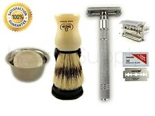 Men Shave Vintage Double Edge Safety Razor Set Brush Soap Bowl 10 Dorco Blade W2