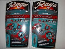 @NEW@ 2- 3k. Rage Hypodermic +P Slip Cam Expandable Broadheads! 100 grain #39800