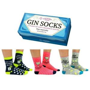 Set of 3 Pairs Cockney Spaniel Gift Boxed Ladies Gin Socks Size 4-8