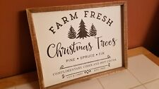"""""""Farm Fresh Christmas Trees"""" Rustic Primitive Wooden Wall Sign Holiday Decor"""