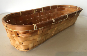 """Elongated Woven Rattan Basket With Rounded Ends, 5.75"""" x 14.75"""" x 3.75"""" Deep"""