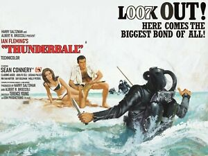 """THUNDERBALL James Bond 007 huge commercial quad poster 30x40"""" Sean Connery"""