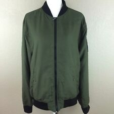 No Retreat Men's L XL Jacket Wallace Flight Bomber Green Olive Zip Up Casual New
