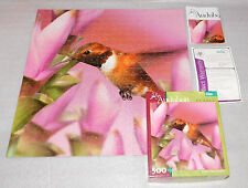 Audubon Rufous Hummingbird Flowers Jigsaw Puzzle Buffalo Games 500 Pieces 18x18