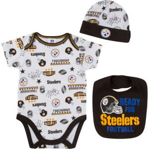 NFL Pittsburgh Steelers Infant Boys' Bodysuit, Cap & Bib Set Size 0-3 Months NWT