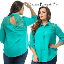 New Ladies L/S Green Top With Lace Shoulders Plus Size 16/1XL (9880)MY