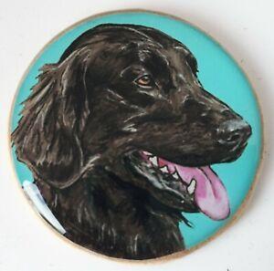 Flat Coated Retriever Dog Original Art Brooch Pin