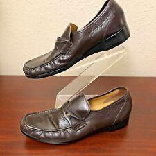 French Shriner Men's Brown Leather Moc Toe Slip On Loafer Dress Shoes Size 12N