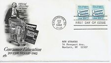 US Scott #2005, First Day Cover 4/27/82 Washington Line Pair Plate #1