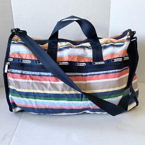 """Le SportSac Duffle Bag  Multi-Color Stripes weekender 20"""" NWOT"""