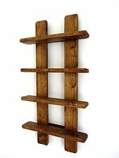 75CM DISTRESSED WOOD RUSTIC BROWN WAXED 4 TIER SPICE RACK / TRINKET SHELF
