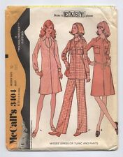VTG 1970s McCall's 3404 Dress Top Pants Sewing Pattern 10/32.5