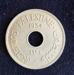 Palestine 10 Mils Mil 1934 Coin KM4 UNC Israel British Mandate Copper Nickel WW2